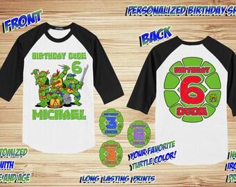 Personalized TMNT 3 Teenage Mutant Ninja Turtles Front and Back Print Birthday Raglan Shirt - tshirt custom