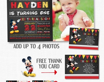 Mickey Mouse invitation Chalkboard Mickey Mouse invitation Chevron Mickey Invite Mickey Photo Invite Printable Invite FREE Thank You Card