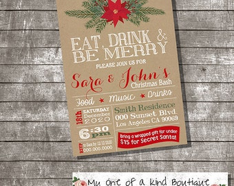 Christmas invitation eat drink & be merry annual holiday party rustic xmas office invite digital printable invitation 13795