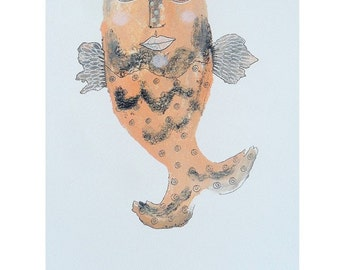 Folk Art Fish - Outsider Art Fish - Cream Fish - Quirky Fish - Fish Illustrations - Mixed Media Fish Art - Fish Paintings - Fish Art