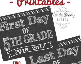 First Day of Third Grade Printable Signs Last Day of Third