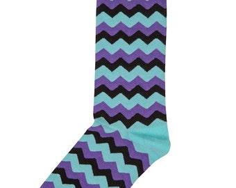 Purple, Aqua and Black Chevron Zig Zag Socks