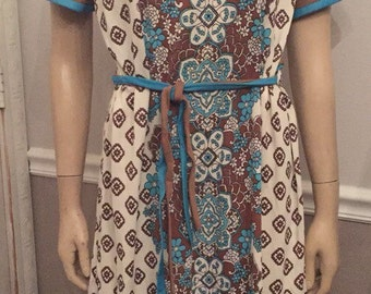 Vintage 70's Berkshire turquoise and brown polyester dress / size Large