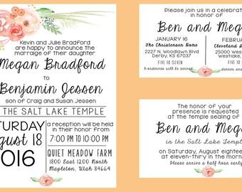 lds wedding invitations wedding invitations wedding invitation set