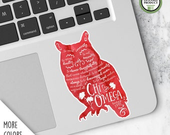 Chi Omega XO | Small Owl Decal | Sorority Big Little Reveal Gift | Official Licensed Product | XO-SD