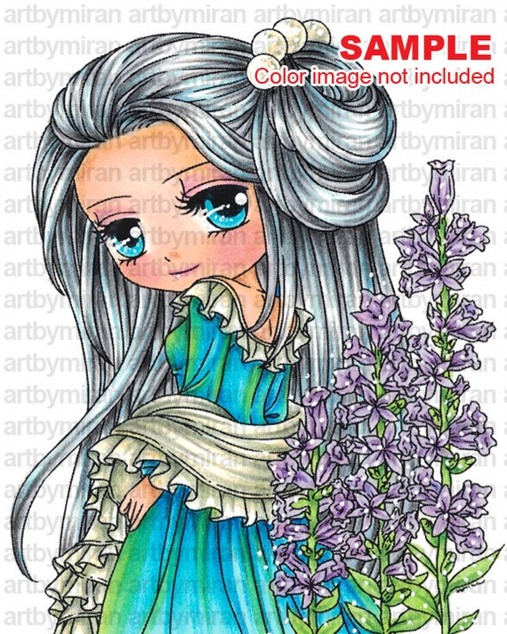Digital Stamp - Salvia (#284), Digi Stamp, Coloring page, Printable Line art for Card and Craft Supply