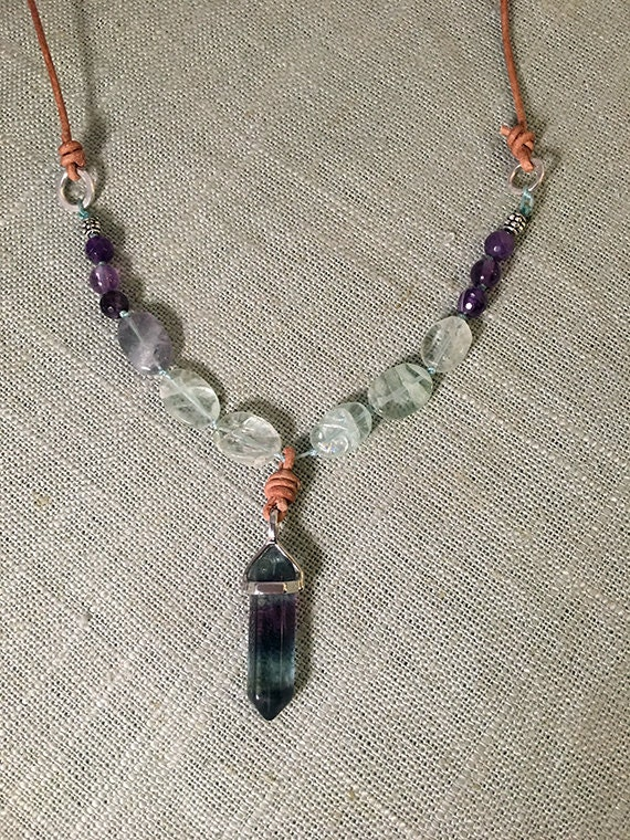 Amethyst and Fluorite Healing Crystal Necklace, Intuition and Grounding Gemstone Necklace, Fluorite Crystal Point, Third Eye Jewelry