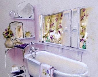 Purple Interior, ORIGINAL Soft Pastel Painting Illustration, Bath Interior Illustration, Pastel Art