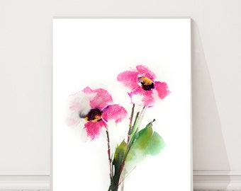 Pink bright flowers, Original Watercolor Painting, Modern Painting, Pink Florals, Watercolour Art