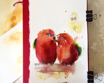 Love Birds ORIGINAL Watercolor Painting, Red birds, Birds Painting, Bird illustration
