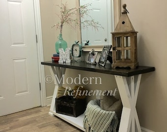 Rustic farmhouse entryway table, farmhouse table, console table.