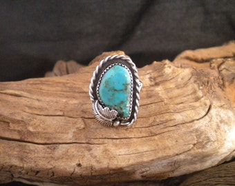 Size 8.5 Ring Turquoise & Sterling Silver Signed Piece Handmade
