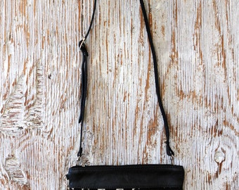 Convertible Leather Crossbody Bag with mud cloth - Ethnic Leather Clutch - Black Leather Cross Body Bag