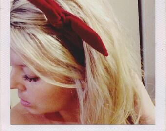 Bardot Wired Headband in Crimson Velvet