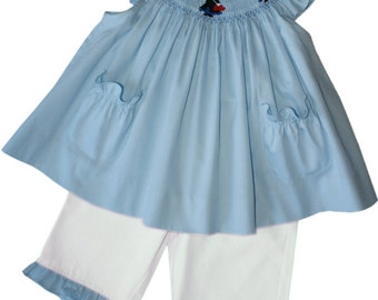Mary Poppins smocked bishop dress and white pants set, it has ruffle and pockets, Disney vacation Outfit. Fine Baby Girls Clothing. 17995
