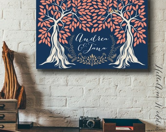Wedding guest book alternative - Wedding guest book canvas - Large guest book - Wedding tree guest book - navy coral wedding - Couple gift