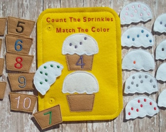 Busy Bag Busy Page Cupcake Count Sprinkles & match colors Learning set 10 numbered cupcake bottoms and 10 cupcake frosted tops w sprinkles