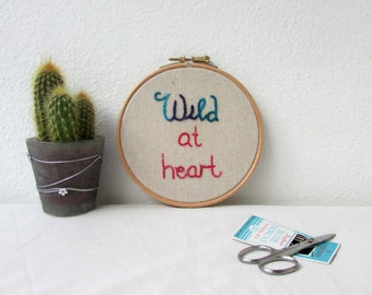 Wild at heart embroidery pattern PDF, text embroidery, DIY embroidery gift for crafter hand embroidery digital download, PDF pattern,