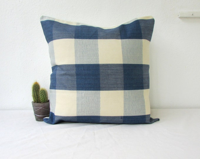 Blue cushion cover, checked pillow cover, 16 inch 40 cms cushion, blue home decor, country chic cushion, country decor, handmade in the UK