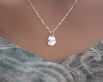 Sterling Silver Scooped Teardrop Petal Dangle Necklace, Curved Teardrop Charm Necklace, Small Teardrop Charm Necklace, Layering Necklace