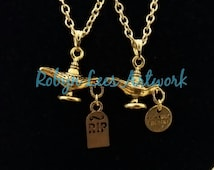 Silver Genie Lamp Necklace on Silver Chain with RIP Headstones or Engraved Someone Special Discs