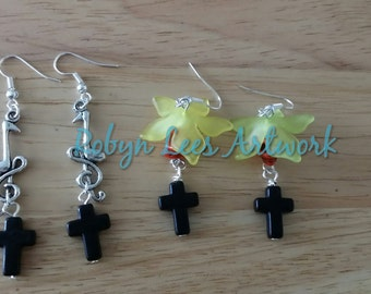 Music and Flower Skull Earrings with Music Notes, Turquoise Skulls, Stone Crosses and Frosted Flowers