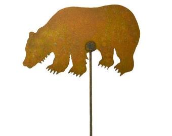 Grizzly Bear Metal Garden Stake, Yard Art GS49