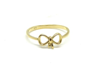 Gold bow ring ~ Solid gold ring ~ Bow tie ring ~ Gold bow ~ Dainty ring ~ Vintage jewelry ~ Promise ring ~ Forget me knot ~ Bow jewelry