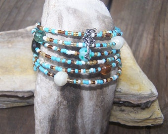 Blue Memory Wire Wrap Bracelet