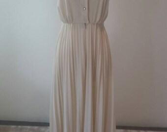 Vintage Cream/Off White Strapless Maxi Dress