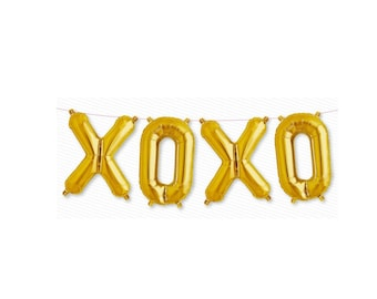 Gold XOXO Balloons Valentine Balloons Wedding xoxo letters air filled gold hugs and kisses gold balloons xoxo valentine party decorations
