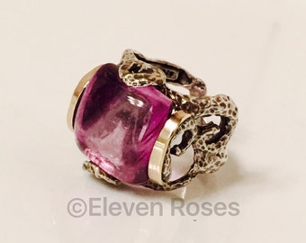 Brutalist Organic Design Amethyst Extra Large Statement Ring  925 Sterling Silver 14k Yellow Gold Size 7