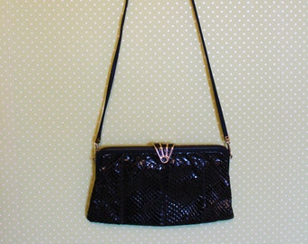 Vintage navy snakeskin bag with removable strap