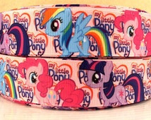 "3 yards 1""My Little Pony Grosgrain Ribbon-Hair bows-Girls-Ribbon belts-Printed-Supplies"