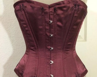 Victorian Waist training corset Demi Bust Overbust  Steel boned Flossed Satin and Coutil