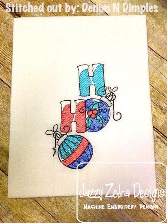 Ho Ho Word Sketch Embroidery Design - christmas Sketch Embroidery Design - ornament Sketch Embroidery Design - ho ho Sketch Embroidery