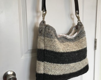 Striped Hand-knitted Large Bag with Leather Belt Strap - Shades of Grey