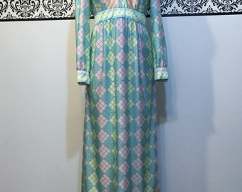 1960's Mod Maxi Dress by Donle, Size 10, Size 12, 60's Full Length Boho Dress, Large, 1960's Pastel Maxi Dress, Vintage Hipster Maxi Dress