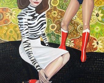 """untitled wonder women - original oil on canvas - 40"""" x 30"""""""