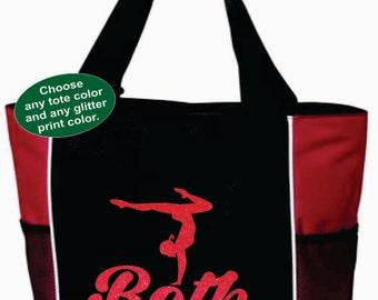 GYMNASTICS TOTE with Gymnast's Name. Gymnastics Bag. Gymnast Tote. Dancer Bag. Dancer Tote. Dancing Tote. Ballet Tote. Ballet Bag. Dance.