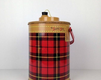Vintage Thermal Jug The Skotch Jug 1950s Red Plaid Insulated Jug Hamilton Metal Products Co Ohio Petra Cabot Designs Thermal Jug 1960