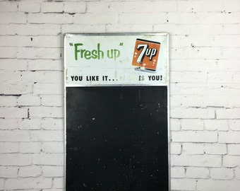 Vintage Soda Sign Vintage 7UP Menu Board 1950s Soda Menu Board Original 1950s Seven Up Chalkboard Tin Menu Board 7UP