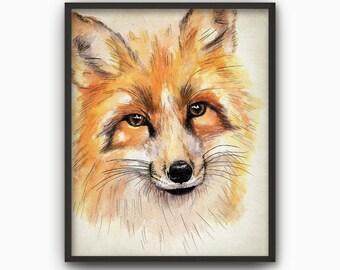Fox Watercolor Wall Art Print - Fox Watercolour Painting - Nursery Woodland Animal Wall Art Print - Forest Home Decor - Fox Poster AB589