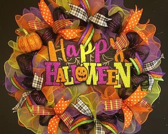 Halloween Wreath, Happy Halloween Wreath, Halloween Decor
