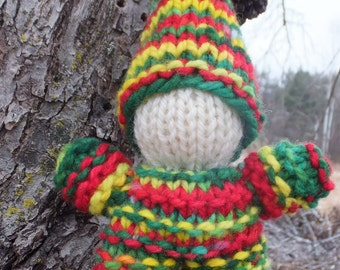 Hand Knitted Christmas Gnome, Waldorf toy, Waldorf doll, Wool Gnome, Waldorf Gnome, Natural toy, Eco toy, Birthday gift, Christmas gift