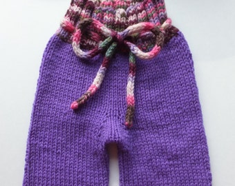 Hand Knitted Wool Longies, Wool Diaper Cover, Wool Baby Pants, Girly Pants, Girly Longies, Hand Knitted Pants, 3-6 months