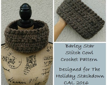 CROCHET PATTERN - Barley Star Stitch Cowl, Crochet Stashbuster, Crochet Cowl, Brown Cowl, Under and Hour Crochet, Crochet for Her, To Sell