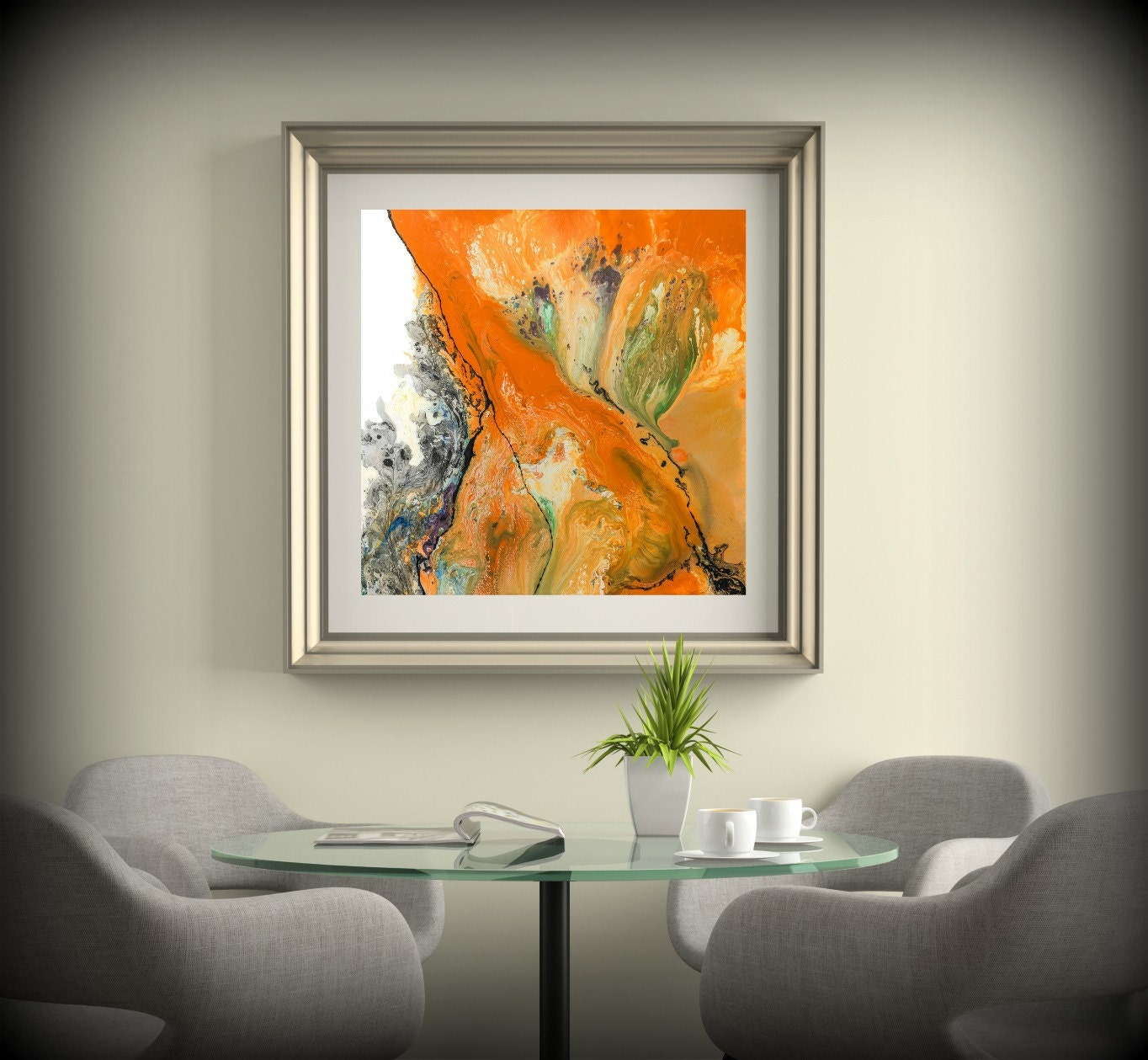 Living room decor square wall decor orange wall art dining for Art as decoration
