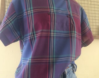 Union Made Purple and Blue Plaid Top/Blouse By Koret City Blues