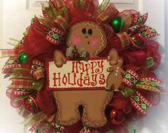 Gingerbread wreath, Christmas wreath, gingerbread doll wreath/ Christmas gingerbread themed wreath/ Christmas gingerbread decoration wreath